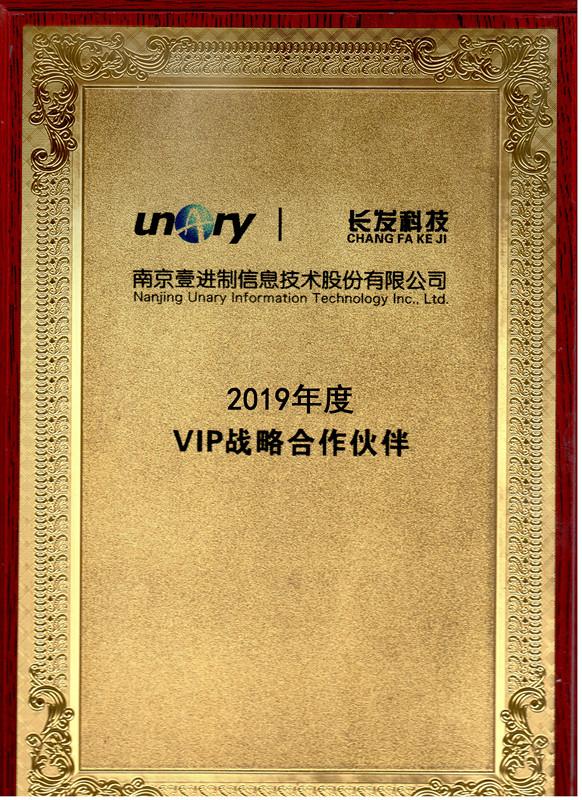 荣获南京壹进制2019年度VIP战略合作伙伴